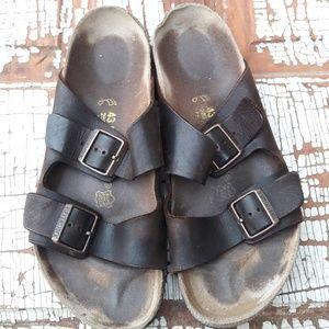 Men's Birkenstock dark brown Arizona sandals 10